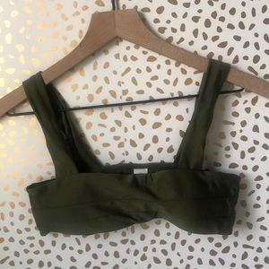Zaful Bandeau Bikini Set Cheeky Army Green